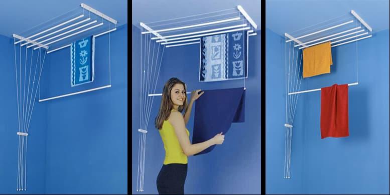 Étendoir à linge intérieur : Multifonction,pliable ouaccroché au plafond avecpoulies ou ficelles
